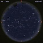 Mapa oblohy 14. ledna 2015 v 18:00 SEČ. Data: Stellarium Autor: Martin Gembec