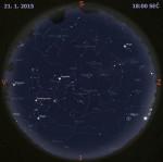 Mapa oblohy 21. ledna 2015 v 18:00 SEČ. Data: Stellarium Autor: Martin Gembec