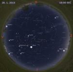 Mapa oblohy 28. ledna 2015 v 18:00 SEČ. Data: Stellarium Autor: Martin Gembec