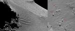 duny a balvany s větrnými ohony Autor: ESA/Rosetta/MPS for OSIRIS Team MPS/UPD/LAM/IAA/SSO/INTA/UPM/DASP/IDA