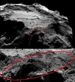 Mozaika snímků přístroje OSIRIS na Rosettě ukazuje oblast přistání Philae z výšky 20 km (12. 12. 2014), Philae by na snímku zabíral 3 pixely Autor: ESA/Rosetta/MPS for OSIRIS Team MPS/UPD/LAM/IAA/SSO/INTA/UPM/DASP/IDA