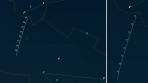 Orientační mapa pro kometu C/2014 Q2 (Lovejoy) v květnu 2015