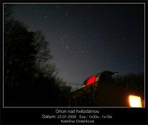 Souhvězdí Orion nad hvězdárnou Autor: Kateřina Onderková