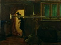 Jeremiah Horrocks pozoruje přechod Venuše v roce 1639. Malba: Eyre Crowe.