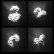 Gejzíry na kometě 67P zachycené sondou Rosetta. Autor: ESA