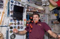 Michail Kornijenko ukazuje v modulu Unity stav beztíže pomocí rajčat. Autor: NASA/ISS.