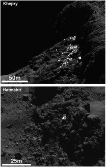 Ledové bloky na povrchu jádra komety 67P Autor: ESA/Rosetta/MPS for OSIRIS Team MPS/UPD/LAM/IAA/SSO/INTA/UPM/DASP/IDA