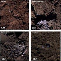 Barevný kompozit čtyř oblastí s vodním ledem viditelným na povrchu jádra komety 67P Autor: ESA/Rosetta/MPS for OSIRIS Team MPS/UPD/LAM/IAA/SSO/INTA/UPM/DASP/IDA