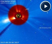 Kometa - lízač Slunce (sungrazing comet) - snímek SOHO. Autor: SOHO/LASCO (ESA & NASA)/Spaceweather.com
