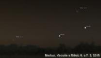 Planety a Měsíc ráno 6. a 7. února 2016. Data: Stellarium