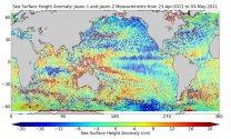 Historické srovnání dat z družic Jason-2 a Jason-1 z přelomu dubna a května 2011 Autor: NASA/JPL-Caltech/Ocean Surface Topography Science Team