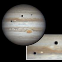 Jupiter a dvojitý přechod měsíců Ganymed a Io Autor: Pavel Prokop