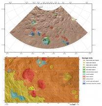 Ukázka dvou geologických map – oblast okolo kráteru Fejokoo (nahoře) a okolo kuželovité hory Ahuna Mons (dole). Červenou barvou jsou vyznačeny dómy (v legendě jako tholus) Autor: K. H. G. Hughson et al., T. Platz et al., LPSC2016