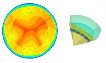 Ukázka simulace velkoškálové konvekce z doby půl miliardy let (vlevo) a malých konvektivních cel v době 4 miliardy let (vpravo) po vzniku Ceresu Autor: B. J. Travis et al., LPSC2016