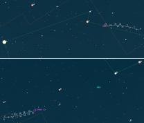 Mapka poloh komet 252P a S2 PanSTARRS. Data: Guide 9