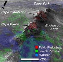 Cape Byron, kráter Endeavour Autor: HiRISE/NASA/JPL