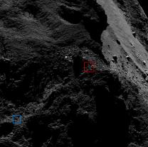 Na obrázku vidíme vyznačena místa tzv. modrého a červeného kandidáta. Snímek byl pořízen 9. března 2016 ze vzdálenosti 15 km od povrchu komety Autor: ESA/Rosetta/MPS for OSIRIS Team MPS/UPD/LAM/IAA/SSO/INTA/UPM/DASP/IDA