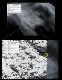 Porovnání snímku OSIRIS (popředí) proti 3D modelu v pozadí. Trojúhelníky pomáhají identifikovat viditelnost kandidáta. Takto byly plánovány snímky Autor: ESA/Rosetta/SGS/R. Andres; Inset: ESA/Rosetta/MPS for OSIRIS Team MPS/UPD/LAM/IAA/SSO/INTA/UPM/DASP/