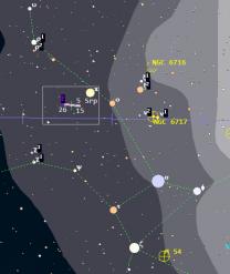 Orientační mapka polohy Pluta v létě 2017. Zdroj: Guide 9