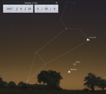 Konjunkce Venuše a hvězdy Regulus ze Lva 20. 9. 2017