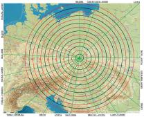 Orientační mapa pro rychlé určení směru a výšky výskytu rudých skřítků. Jednotlivé směry jsou odvozeny od pevných překážek v okolí z určeného pozorovacího stanoviště (Zdroj: mapy.cz) Autor: Daniel Ščerba