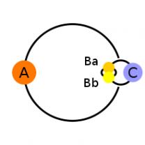 Složení systému hvězdy Alamak, gammy Andromedy Autor: Wikimedia Commons