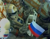 Robot Skybot-F850 zvaný Fjodor (anglická zkratka FEDOR) v kabině Sojuzu MS-14 při startu. Autor: Roskosmos