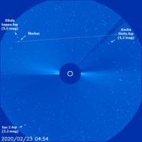 Dráha Merkuru v koronografu LASCO C3 v 9. týdnu 2020 Autor: SOHO/NASA/ESA.