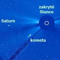 Kometa Kreutzovy rodiny v koronografu LASCO C3 17. ledna 2021 Autor: NASA/ESA