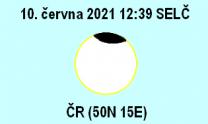 Maximální fáze částečného zatmění Slunce v ČR 10. 6. 2021 Autor: Martin Gembec