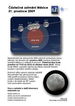 Leták k zatmění Měsíce 31. prosince 2009