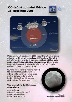 Leták k zatmění Měsíce 31. prosince 2009 s pozadím