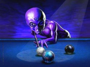 Mimozemšťan hraje kulečník s planetami...