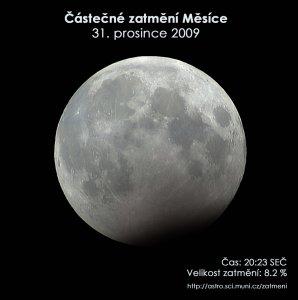 Simulační snímek částečného zatmění Měsíce 31. prosince 2009.