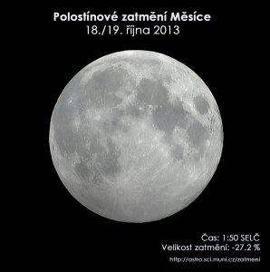 Simulační snímek polostínového zatmění Měsíce 19. října 2013. Zdroj: EAI.