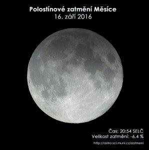 Simulační snímek polostínového zatmění Měsíce 16. září 2016. Zdroj: EAI.