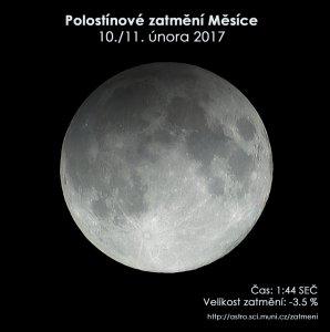 Simulační snímek polostínového zatmění Měsíce 11. února 2017. Zdroj: EAI.
