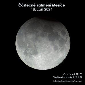 Simulační snímek částečného zatmění Měsíce 16. září 2024.