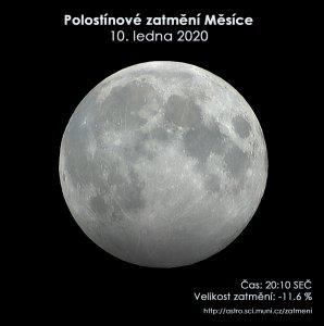 Simulační snímek polostínového zatmění Měsíce 10. ledna 2020. Zdroj: EAI.