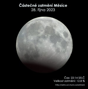 Simulační snímek částečného zatmění Měsíce 28. října 2023. Zdroj: EAI.