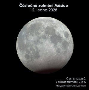 Simulační snímek částečného zatmění Měsíce 12. ledna 2028. Zdroj: EAI.