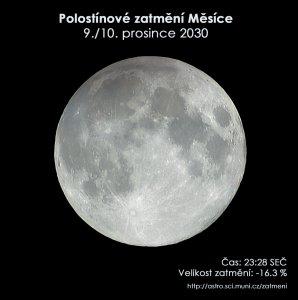 Simulační snímek polostínového zatmění Měsíce 9. prosince 2030. Zdroj: EAI.