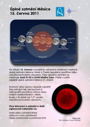 Leták k zatmění Měsíce 15. června 2011 s pozadím