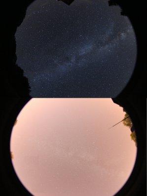 Srovnání: tmavá obloha daleko od města a světlá obloha ve městě Autor: Miroslav Znášik