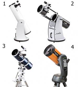 Dva dalekohledy na Dobsonově montáží, první s pevným tubusem (1), druhý zasouvací, tzv. flex-tube (2). Newtonův dalekohled na paralaktice (3) a dalekohled s elektronicky naváděnou montáží (4). Autor: Sekce pro děti a mládež