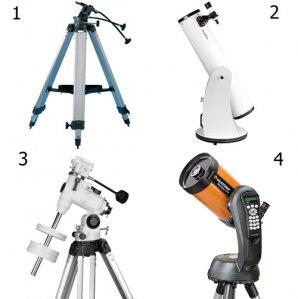 Základní druhy montáží – azimutální (1), dalekohled na Dobsonově montáži (2), paralaktická (3), dalekohled s elektronicky naváděnou montáží (4) Autor: Sekce pro děti a mládež