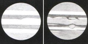 Jupiter v dalekohledu, jak jej může vidět začátečník (vlevo) a zkušený pozorovatel (vpravo) Autor: Petr Sklář