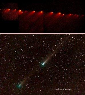 Na horním obrázku kometa Shoemaker-Levy 9 z května 1994, kdy byla roztrhána Jupiterem do mnoha fragmentů. Dole snímky kompenentů B a C  komety 73P/Schwassmann-Wachmann 3 z května 2006. Autor: NASA/HST, A. Catsaitis