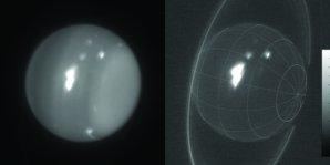 Infračervené snímky Uranu ukazují bouři z 6. srpna 2014. Snímky jsou pořízeny 10 metrovým dalekohledem Keck. Autor: Imke de Pater (UC Berkeley), Keck Observatory