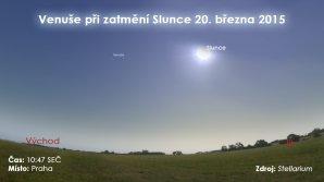 Venuše během částečného zatmění Slunce 20. 3.. 2015. Data: Stellarium